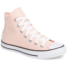 Converse Chuck Taylor All Star Woven High Top Sneaker (Women) ($40) ❤ liked on Polyvore featuring shoes, sneakers, stripe shoes, lace up high top sneakers, converse trainers, lacing sneakers and hi tops