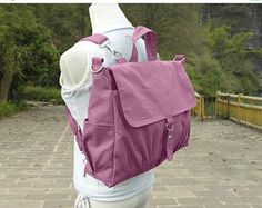 On Sale 20% off Purple canvas backpack, unisex canvas bag, school bag for boys and girls