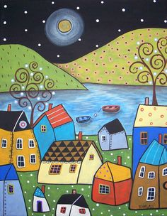 Folk Art Seaside Town Karla Gerard Canvas by KarlaGerardFolkArt