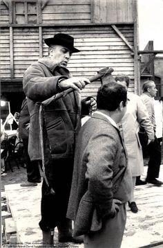 Fellini on set, photo by Tazio Secchiaroli, Rome 1970 ca.