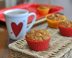 Hearty Heart Loving Muffins, moist, fruity muffins, all you want in a morning muffin. Whole-grain, low-sugar, no added fat plus carrots, apple and raisins and a surprise ingredient. For Weight Watchers, #PP4.