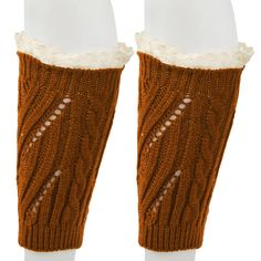 """FUNOC Women's Winter Knit Lace Leg Warmers Knee High Legging Boots Socks. Material:Acrylic fibers and Lace. Size Details: 22x10cm/8.9x3.9""""(Approx.). Eye-catching neon color, this pair of finger less leg warmers socks is a perfect partner for women's boots or shoes on various seasons. Slouth style and solid color design make these boots topper cuffs warm and fashion. Add a pair of knitted Leg warmers just decor your shoes into a shiny candy colored boots. We love them with rain or..."""
