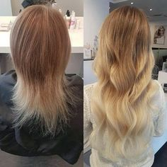 """From a short haircut to natural-looking lengths with 5 packets of Nail Hair Premium in 50 cm/20"""" in color Cendre Ash Blond Ombre #T14/60 💋 Styled by Anna @rapunzeluppsala #rapunzelofsweden"""