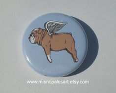 Flying Bulldog Pinback Button by MisNopalesArt on Etsy.