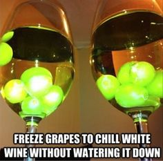 freeze grapes to chill wine without watering it down
