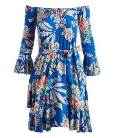 Loving this Royal Blue & Pink Floral Tie-Waist Off-Shoulder Dress - Women on #zulily! #zulilyfinds