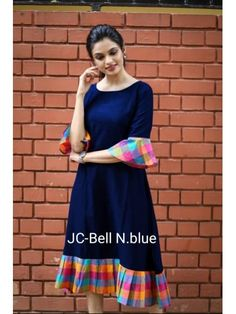 Fabric: Khadi Cotton Sleeves: Sleeves Are Included Size: (Bust) Up To 42 in (Free Size) Length: Up To 46 in Type: Semi-Stitched Fabric: Khadi Cotton Salwar Designs, Kurta Designs Women, Kurti Neck Designs, Dress Neck Designs, Blouse Designs, Cotton Kurtis Designs, Simple Kurti Designs, Frock Design, Casual Frocks