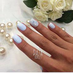 Beautiful nails 2017, Blue lacquer nails, Blue nail art, Blue shellac nails, Festive nails, Ideas of blue nails, Nails ideas 2017, Nails with gems