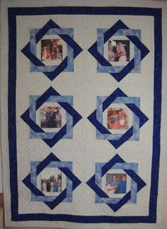 Browse the amazing collection of DIY Photo Quilt Patterns, Designs, Ideas and learn how to make handmade quilts with photos in some steps! Quilting Projects, Quilting Designs, Quilting Tutorials, Quilting Ideas, History Of Quilting, Photo Quilts, Patchwork Quilt Patterns, Applique Quilts, Quilt Border