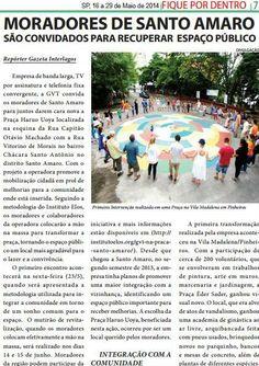 Divulgação sobre a iniciativa GVT na Praça Santo Amaro, em São Paulo, no jornal Gazeta de Interlagos.