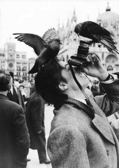 Alain Delon in Piazza San Marco, Venice, 1962. Photo by Robert Doisneau.