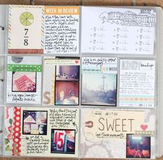I like the bottom left card with two tiny photos and the hand-drawn arrows to the journaling that goes with each.