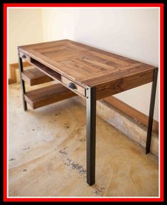Pallet desk with drawers and shelves pallet furniture diy do Pallet Desk, Diy Pallet Furniture, Diy Pallet Projects, Metal Furniture, Furniture Projects, Furniture Design, Cheap Furniture, Furniture Online, Furniture Stores