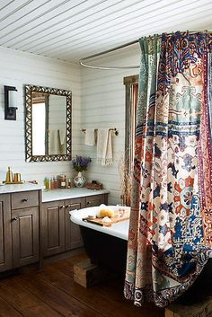 Boho Bathroom Love. Major heart eyes for this gorgeous shower curtain. Blue, cream, rust, sage. Lovely.... Anthropologie Risa Shower Curtain