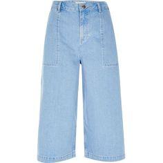 River Island Blue denim culottes (€67) ❤ liked on Polyvore featuring pants, capris, blue, culottes, women, high-waist trousers, denim pants, high rise pants, denim trousers and wide leg pants