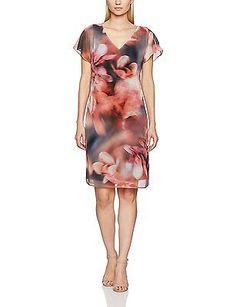8, Multicoloured, Jacques Vert Women's Chiffon and Jersey Printed Tunic Dress NE