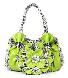 Green Leopard Print Flower Rhinestone Fashion Handbag Purse