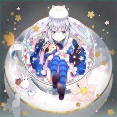 Cute kawaii anime girl in a cup with rabbit Anime Girl Cute, Beautiful Anime Girl, Kawaii Anime Girl, Anime Art Girl, Manga Art, Anime Girls, Anime Chibi, Chica Anime Manga, Fanarts Anime