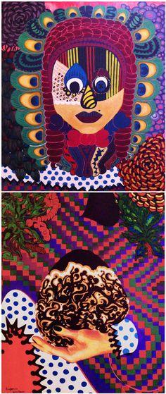 Aboriginal Egg part by Eugenia Giallousi, via Behance My Arts, Eggs, Behance, Wreaths, Halloween, Painting, Home Decor, Behavior, Decoration Home