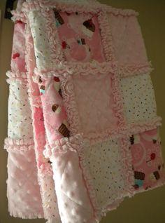 Baby Girl Robert Kaufman Little Cupcake Confections Minky Rag Quilt  Blanket
