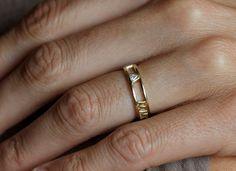 Wedding - 14k Gold Wedding Band, Roman Numerals Ring, Anniversary Ring, Trillion Diamond