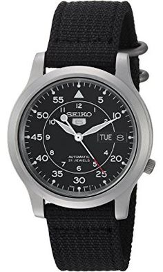 4e04de4bf5a Seiko Men s SNK809 Seiko 5 Automatic Stainless Steel Watch with Black  Canvas Strap