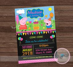 Peppa Pig and George Party Invitation Peppa Pig Birthday