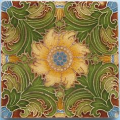 A fabulous majolica art nouveau floral pattern that completely fills the space in super colors from Mintons China Works on this tea trivet. The design clearly shows Victorian elements