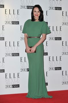 Laura Haddock Evening Dress - Smiling sweetly at the Elle Style Awards 2012, Laura Haddock was elegance personified in her pale green gown with a metallic waist belt.
