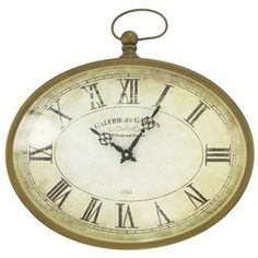 Bronze Metal Oval Wall Clock…playroom decor