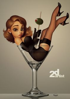 Can u draw us like this? Maybe not in martini glasses but something more us. It's so cute!