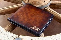 Italian Leather Wallet for man with your initials or name. Handstitched personalized men's leather wallet. on Etsy, $185.21 Biker Leather, Leather Men, Saddleback Leather, Man Purse, Best Wallet, Best Gifts For Men, Vintage Purses, Leather Bifold Wallet, Italian Leather