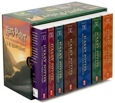 Harry Potter by J.K.Rowling. Amazing series about wizardry. 1st book: Philosopher/Sorcerers Stone. 2nd book: Chamber of Secrets. 3rd book: Prisoner of Azkaban. 4th book: Goblet of Fire. 5th book: Order of the Phoenix. 6th book: Half-blood Prince. 7th book: Dealthy Hallows