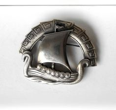 Antique Sterling Silver early CORO Viking Ship Brooch Pin Art Deco Back to School Sale Vintage Brooches, Vintage Earrings, Vintage Jewelry, Viking Ship, Pin Art, Brooch Pin, Costume Jewelry, Vikings, Vintage Items