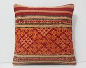 orange pillow case antique cushion cover decorative pillow couch bohemian bedding pillow antique fabric pillow coral kilim pillow sham 16824