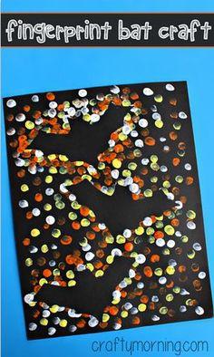 Fingerprint Bat Silhouette Craft for Kids - Crafty Morning