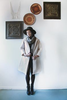 ONE of these left. Original $310- now $150. Quilted Organic Cotton Coat with Hood.