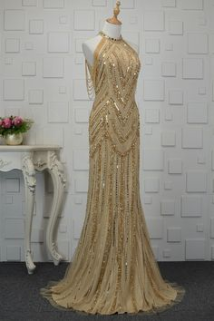 Gorgeous Long Sheath Gold Crystal Beaded Prom Party Dress High Neck Sleeveless Winter Prom Dresses, Gold Prom Dresses, Prom Dresses Online, Prom Party Dresses, Formal Dresses, Orange Blush, Purple Grey, Crystal Beads, Fashion