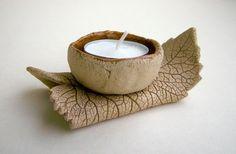 ?BLATT? Kerzenständer aus Keramik