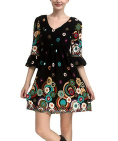 Take a look at the Black & White Floral Ruffle-Sleeve Dress on #zulily today!
