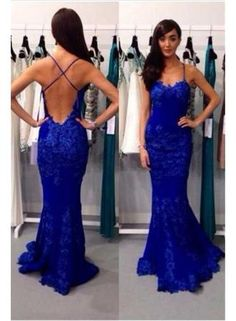 USD$169.00 - Sexy Backless Royal Blue Evening Dress Lace Mermaid 2015 Prom Dress - www.suzhoudress.com