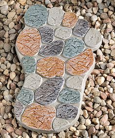 Another great find on #zulily! Brown & Teal Right Foot Design Stepping Stone #zulilyfinds