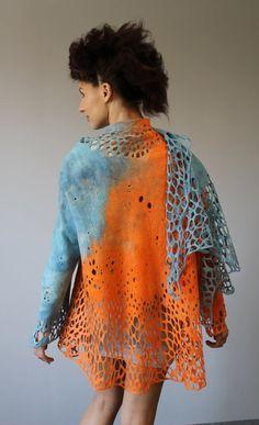 Felted jacket mantel Orange sky by doseth on Etsy