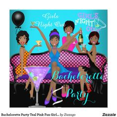Bachelorette Party Teal Pink Fun Girls Cocktails 3