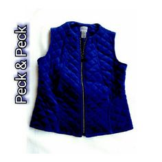 PECK & PECK - PURPLE COTTON QUILTED ZIPPER VEST PECK & PECK - RELAXED PURPLE COTTON QUILTED VEST W/ BLING ZIPPER SHELL    80% COTTON    20% POLYESTER FIBER FILL    100% POLYESTER LINING    100% COTTON FUN BLING ZIPPER TOO! BEAUTIFUL AND FESTIVE FOR THE HOLIDAYS! PECK & PECK Jackets & Coats Vests