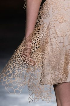 Laser cut dress with intricate organic patterns; innovative textiles; fashion design detail //  Iris Van Herpen Fall 2016