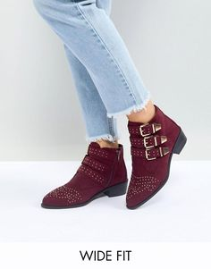 6df0ba5ce New Look Wide Fit Studded Western Flat Ankle Boot at asos.com
