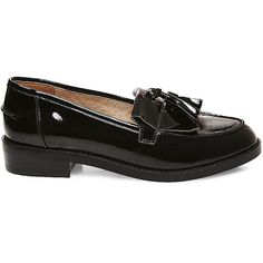 Steve Madden Women's Meela Flats Loafers ($50) ❤ liked on Polyvore featuring shoes, loafers, flats, black patent, black patent leather shoes, black shoes, black flat shoes, black loafer flats and steve-madden shoes