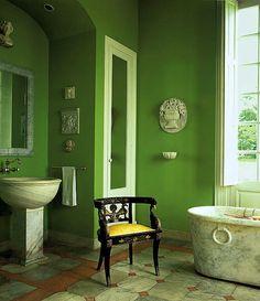 Ruth Burts Interiors: color combos: GREEN + BLACK (+gold!)