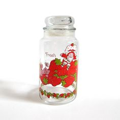 Strawberry Shortcake Jar Vintage Kitchen Canister with Lid and Strawberries…